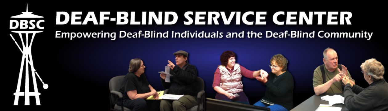 DBSC logo with picture of DBSC staff, sub-contractors, and Deaf-Blind community members